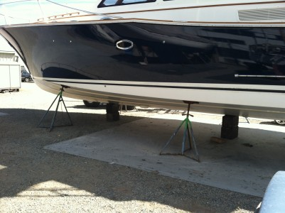 This Salish Sea 48 is shown here after 1 year in the water with Ultima Eco White